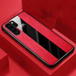 Coque Silicone Gel Motif Cuir Housse Etui H01 pour Huawei P30 Pro Rouge