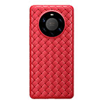 Coque Silicone Gel Motif Cuir Housse Etui pour Huawei Mate 40 Pro+ Plus Rouge