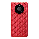 Coque Silicone Gel Motif Cuir Housse Etui pour Huawei Mate 40 Pro Rouge