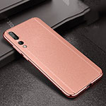 Coque Silicone Gel Motif Cuir Housse Etui S02 pour Huawei P20 Pro Or Rose