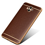 Coque Silicone Gel Motif Cuir pour Huawei Mate 10 Marron
