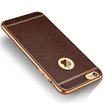 Coque Silicone Gel Motif Cuir W02 pour Apple iPhone 6 Marron