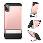 Coque Silicone Gel Souple Couleur Unie avec Support pour Apple iPhone Xs Max Or Rose