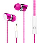 Ecouteur Casque Filaire Sport Stereo Intra-auriculaire Oreillette H16 Rose Rouge