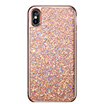 Etui Silicone Bling Bling Souple Couleur Unie pour Apple iPhone Xs Max Or Rose