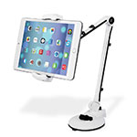 Support de Bureau Support Tablette Flexible Universel Pliable Rotatif 360 H01 pour Apple iPad 4 Blanc