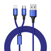 Chargeur Lightning Cable Data Synchro Cable Android Micro USB ML05 Bleu