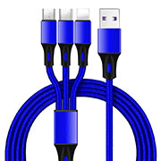 Chargeur Lightning Cable Data Synchro Cable Android Micro USB Type-C ML09 Bleu