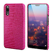 Coque Luxe Cuir Housse Etui P03 pour Huawei P20 Rose Rouge