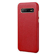 Coque Luxe Cuir Housse Etui P03 pour Samsung Galaxy S10 Plus Rouge