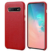 Coque Luxe Cuir Housse Etui P03 pour Samsung Galaxy S10 Rouge