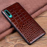 Coque Luxe Cuir Housse Etui R01 pour Huawei P30 Marron