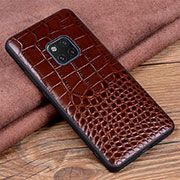Coque Luxe Cuir Housse Etui R02 pour Huawei Mate 20 Pro Marron