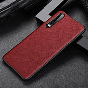 Coque Luxe Cuir Housse Etui R04 pour Huawei P30 Rouge