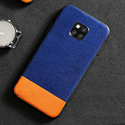 Coque Luxe Cuir Housse Etui R06 pour Huawei Mate 20 Pro Bleu