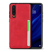 Coque Luxe Cuir Housse Etui R08 pour Huawei P30 Rouge