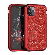 Coque Silicone et Plastique Housse Etui Protection Integrale 360 Degres Bling-Bling pour Apple iPhone 11 Pro Max Rouge