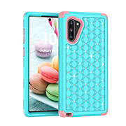 Coque Silicone et Plastique Housse Etui Protection Integrale 360 Degres Bling-Bling U01 pour Samsung Galaxy Note 10 5G Cyan