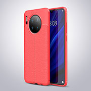 Coque Silicone Gel Motif Cuir Housse Etui pour Huawei Mate 30 Rouge