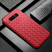 Coque Silicone Gel Motif Cuir Housse Etui pour Samsung Galaxy Note 8 Rouge