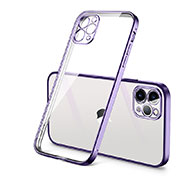 Coque Ultra Fine TPU Souple Housse Etui Transparente H01 pour Apple iPhone 12 Pro Max Violet