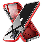 Coque Ultra Fine TPU Souple Housse Etui Transparente S03 pour Apple iPhone 12 Pro Max Rouge