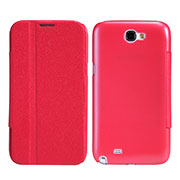 Etui Portefeuille Livre Cuir pour Samsung Galaxy Note 2 N7100 N7105 Rouge