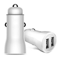 2.4A Adaptateur de Voiture Chargeur Rapide Double USB Port Universel pour Wiko Barry Blanc