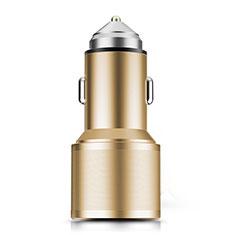 3.0A Adaptateur de Voiture Chargeur Rapide Double USB Port Universel K01 pour Wiko Barry Or