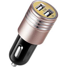 3.1A Adaptateur de Voiture Chargeur Rapide Double USB Port Universel U04 pour Huawei Mate 30 5G Rose