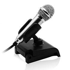 3.5mm Mini Microphone de Poche Elegant Karaoke Haut-Parleur avec Support pour Wiko Bloom 2 Argent