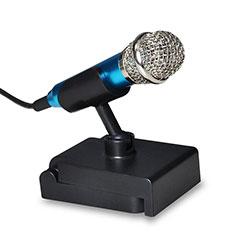 3.5mm Mini Microphone de Poche Elegant Karaoke Haut-Parleur avec Support Bleu