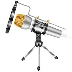3.5mm Mini Microphone de Poche Elegant Karaoke Haut-Parleur avec Support M03 Argent