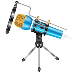3.5mm Mini Microphone de Poche Elegant Karaoke Haut-Parleur avec Support M03 pour Sony Xperia XA2 Ultra Bleu