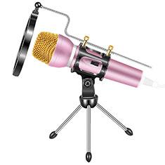 3.5mm Mini Microphone de Poche Elegant Karaoke Haut-Parleur avec Support M03 pour Wiko Bloom 2 Rose