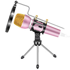 3.5mm Mini Microphone de Poche Elegant Karaoke Haut-Parleur avec Support M03 pour Sony Xperia XA2 Ultra Rose