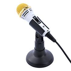 3.5mm Mini Microphone de Poche Elegant Karaoke Haut-Parleur avec Support M07 pour Sony Xperia XA2 Ultra Blanc