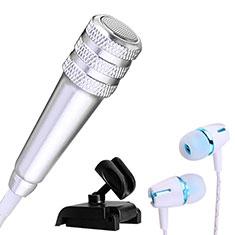 3.5mm Mini Microphone de Poche Elegant Karaoke Haut-Parleur avec Support M08 Argent