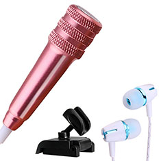 3.5mm Mini Microphone de Poche Elegant Karaoke Haut-Parleur avec Support M08 pour Apple iPhone 11 Or Rose