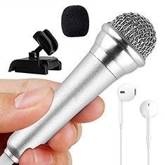 3.5mm Mini Microphone de Poche Elegant Karaoke Haut-Parleur avec Support M12 Argent