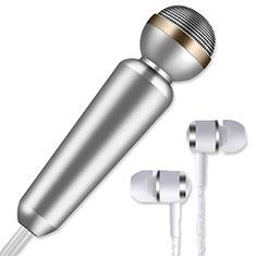 3.5mm Mini Microphone de Poche Elegant Karaoke Haut-Parleur M02 pour Wiko Bloom 2 Argent