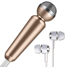 3.5mm Mini Microphone de Poche Elegant Karaoke Haut-Parleur M02 pour Apple iPhone 11 Or