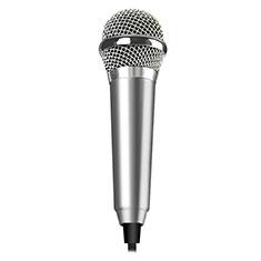 3.5mm Mini Microphone de Poche Elegant Karaoke Haut-Parleur M04 pour Samsung Galaxy Z Fold2 5G Argent