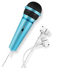 3.5mm Mini Microphone de Poche Elegant Karaoke Haut-Parleur M05 pour Wiko Bloom 2 Bleu Ciel