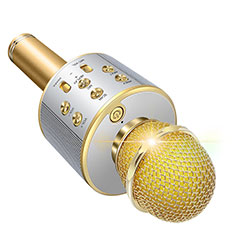 3.5mm Mini Microphone de Poche Elegant Karaoke Haut-Parleur M06 pour Apple iPhone 11 Or