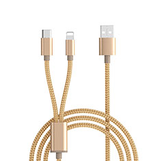 Chargeur Lightning Cable Data Synchro Cable Android Micro USB ML03 Or