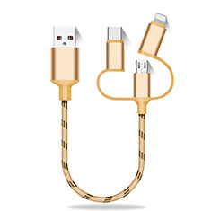 Chargeur Lightning Cable Data Synchro Cable Android Micro USB Type-C 25cm S01 pour Oppo Reno4 SE 5G Or