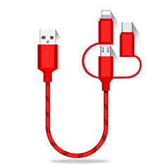 Chargeur Lightning Cable Data Synchro Cable Android Micro USB Type-C 25cm S01 Rouge