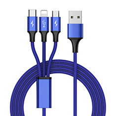 Chargeur Lightning Cable Data Synchro Cable Android Micro USB Type-C ML01 pour Apple iPad New Air 2019 10.5 Bleu