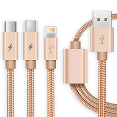 Chargeur Lightning Cable Data Synchro Cable Android Micro USB Type-C ML03 Or